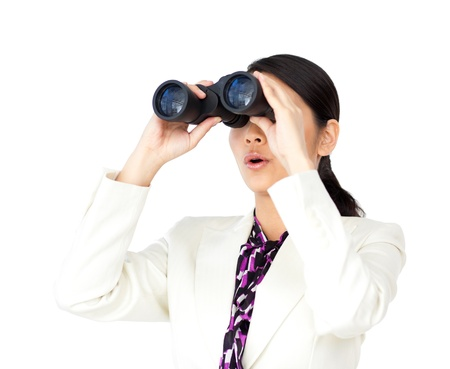 somebody: A businesswoman using a binoculars