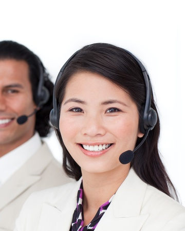 Assertive business people smiling at the camera Stock Photo - 10089882