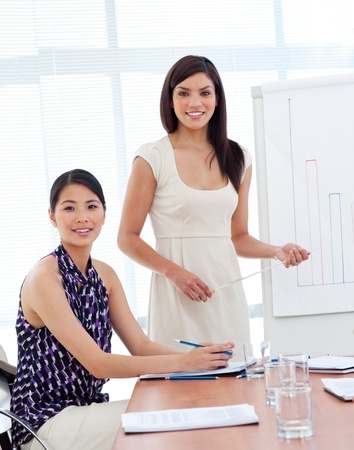 Portrait of two businesswomen at a presentation photo
