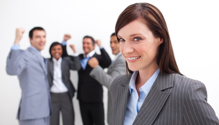 Happy business team celebrating a success  Stock Photo