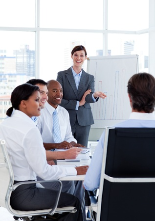 new strategy: Portrait of business people discussing a new strategy