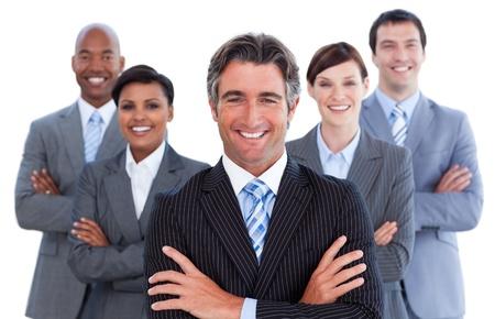 multinacional: Retrato de equipo empresarial competitivo