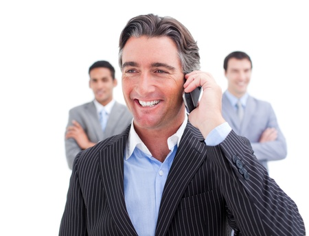 hidef: Charismatic businessman talking on phone