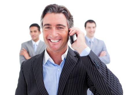 hidef: Laughing businessman talking on phone
