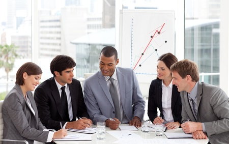 strategy meeting: Smiling business people showing diversity  Stock Photo