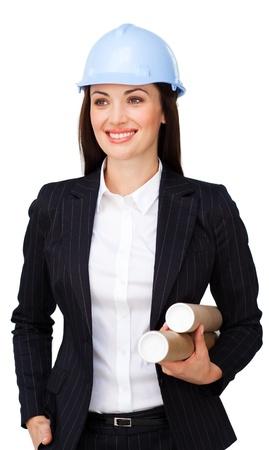Confía arquitecto femenina con un hardhat Foto de archivo