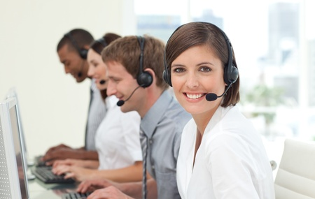 customer service representative: Customer service agents in a call center