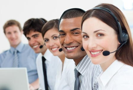 personal service: International customer service agents with headset on