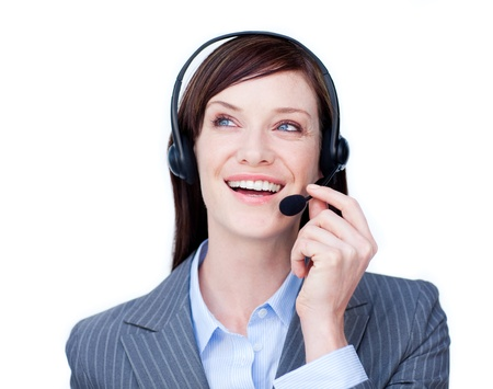 Portrait of a young customer service agent with headset on Stock Photo - 10092127