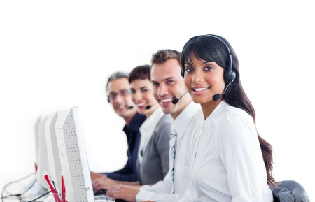 Positive customer service representatives with headset on photo