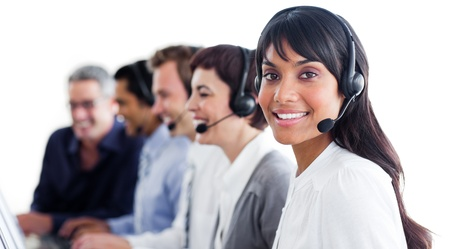 Charismatic customer service representatives with headset on photo