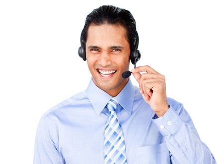 Ethnic businessman with headset on photo
