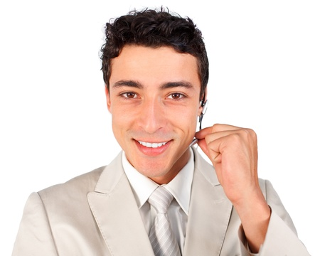 Young customer service representative using headset Stock Photo - 10071902