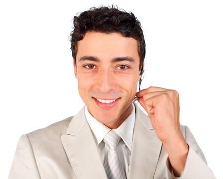 Young customer service representative using headset  photo