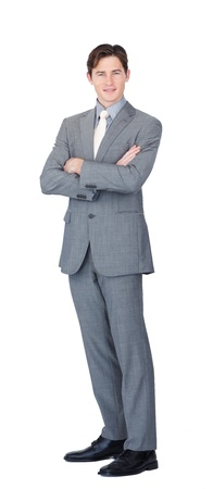 assertive: Assertive caucasian businessman standing  Stock Photo