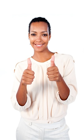 Positive businesswoman with thumbs up  photo