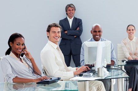 Portrait of a multi-ethnic business team at work Stock Photo - 10110809