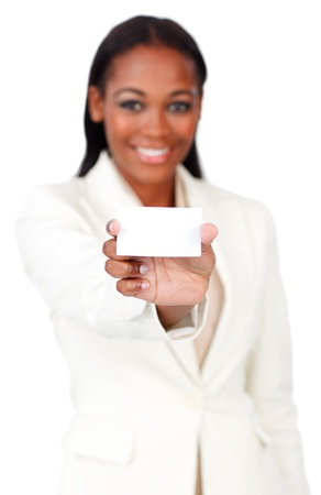 Afro-american businesswoman holding a white card sign  photo