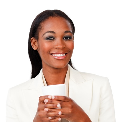 Smiling businesswoman holding a drinking cup  photo