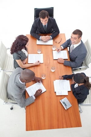High Angle of businessteam having a meeting Stock Photo - 10108630