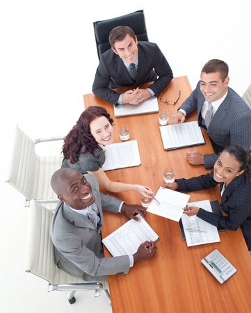 High Angle of multi-ethnic and happy business people Stock Photo - 10110192