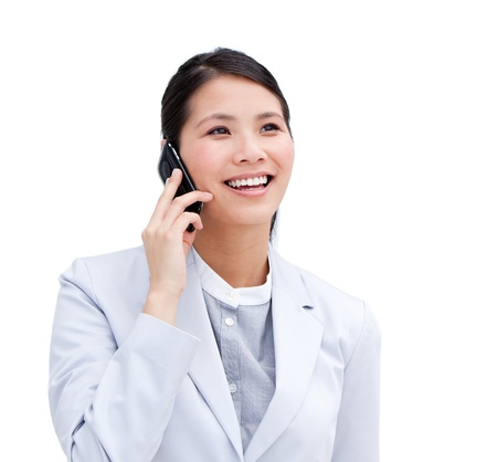 Close-up of an Asian businesswoman on phone   photo