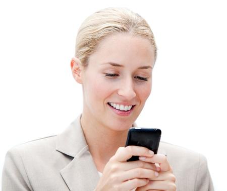 Portrait of a jolly businesswoman sending a text photo
