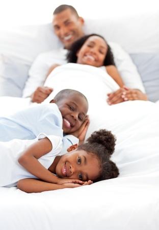 Smiling family having fun photo