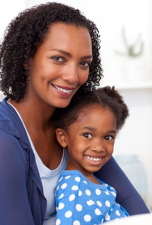 happy black man: Smiling mother and her little girl Stock Photo