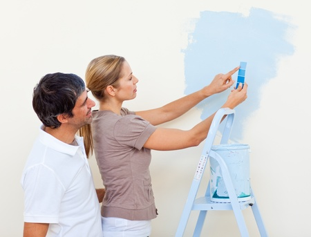 Happy couple painting together Stock Photo - 10093083