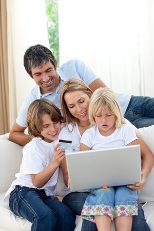 Young family shopping online  photo