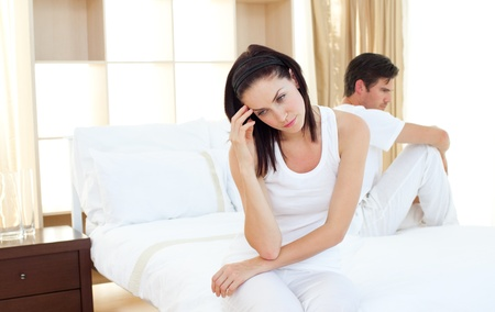 Upset couple finding out results of a pregnancy test Stock Photo - 10091439