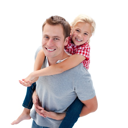 father daughter: Lively father giving his daughter piggyback ride Stock Photo