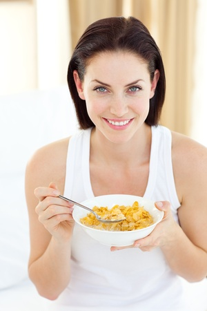 Pretty woman having breakfast Stock Photo - 10093414