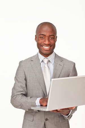 Successful businessman using a laptop Stock Photo - 10108136