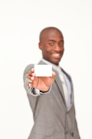 Businessman holding a white business card photo