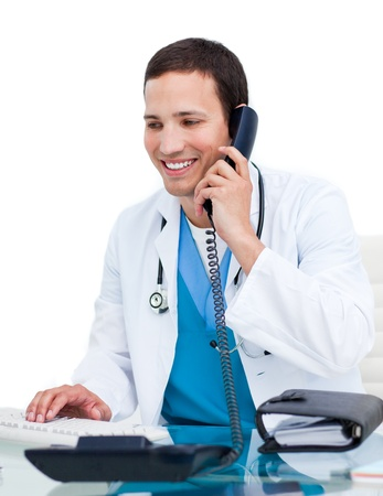 man phone: Handsome doctor calling