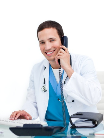 Smiling doctor calling photo