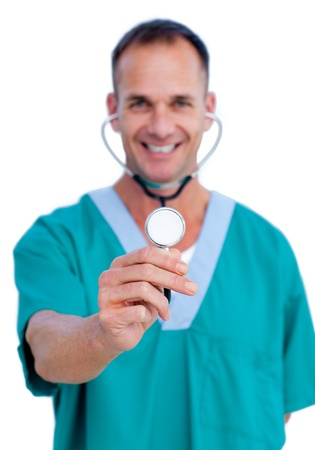 Portrait of a handsome isolated surgeon photo