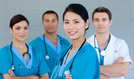 Medical team smiling at the camera photo
