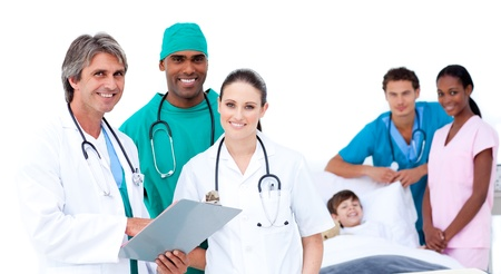 Medical team in a patients bedroom photo
