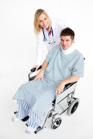 neck brace: Patient with a neck brace and beautiful doctor Stock Photo