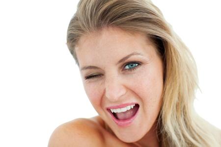 Bright Woman winking  photo