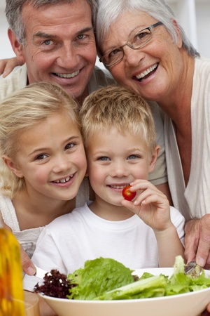 Happy grandparents eating a salad with grandchildren Stock Photo - 10109089