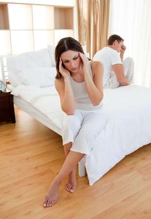 disconsolate: Upset couple having an argument Stock Photo