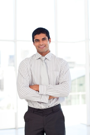 Businessman with folded arms 免版税图像
