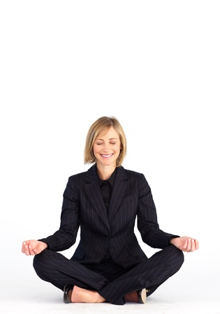 calm woman: Businesswoman meditating on the floor
