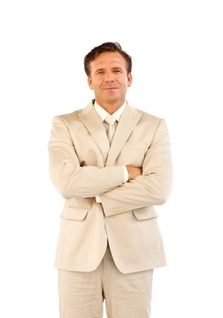 Isolated businessman with folded arms Stock Photo