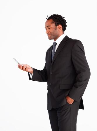 Businessman sending text message photo