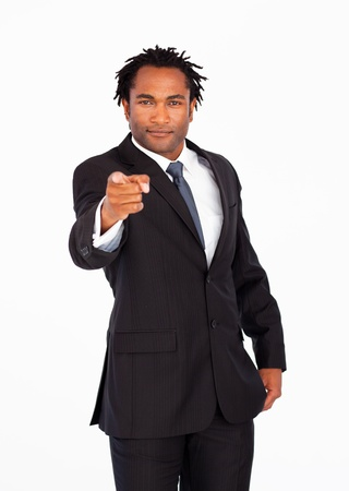 Afro-american businessman pointing at the camera  photo
